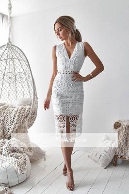 Front-slit Elegant Strap V-neck Sheath Homecoming Dresses_3