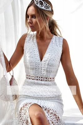 Front-slit Elegant Strap V-neck Sheath Homecoming Dresses_2