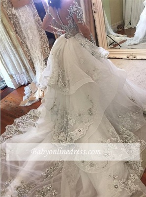 Luxury High Neck Long Sleeves Appliques Tulle Wedding Dresses Detachable Train_1
