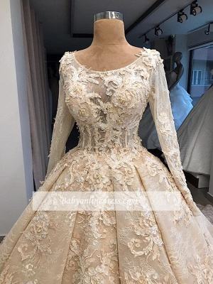 luxurious Scoop Long Sleeves Wedding Dresses | Lace Appliques Ball Gown Bridal Gowns_3